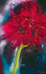 Victory - floral painting of an amaryllis in oil on canvas