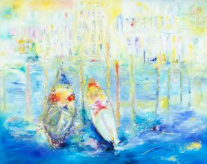 We Met In Venice - Gondolas near Rialto Bridge - oil painting on canvas with 24ct gold leaf