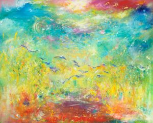 We Will Meet Him In The Air - abstract art in oil on canvas with 24ct gold leaf