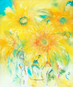 Welcome - floral painting of Sunflowers inspired by Van Gogh in oil on canvas