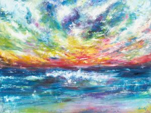 Who Paints The Sky - Sea Flight - sunset and seascape painting in oil on canvas