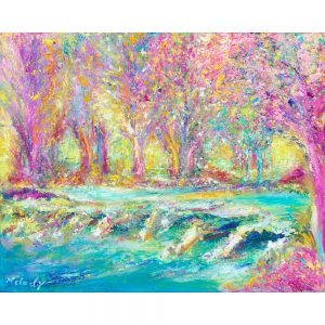 Pink Tarr Steps - landscape painting of ancient clapper bridge over the River Barle