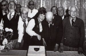 Celebration with Harry Wheeler on the far right - from the book
