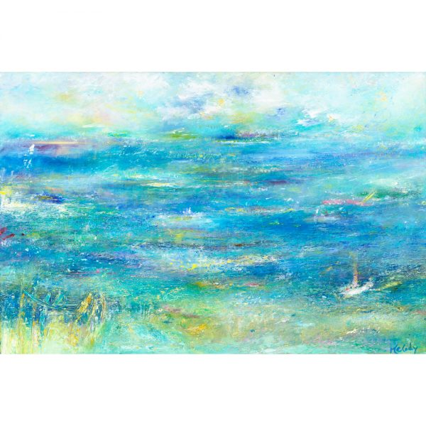 Gone Fishing - seascape painting in oil on canvas