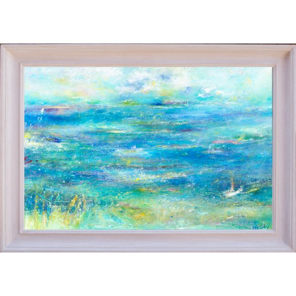 Gone Fishing - seascape painting in oil on canvas framed