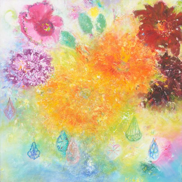 Hidden For A Little While oil painting of flowers with colours and gems inspired by Murano Glass