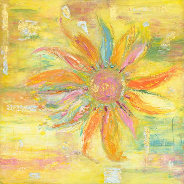 Thank You - original flower painting in oil on canvas with gold leaf