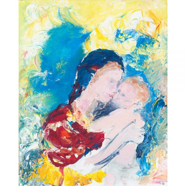 The Kiss - Original portrait painting in oil on canvas of Mary and child
