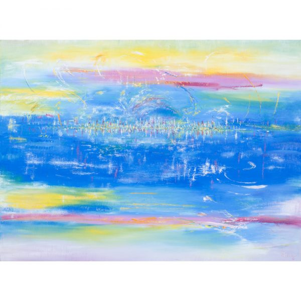 Abstract painting of the heavenly city. The book of Revelation conveys a picture of heaven as being built with jewels and having a river running through it.
