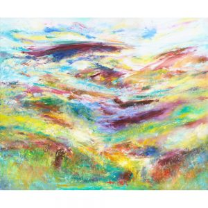 Journey Over Exmoor, landscape painting of hills and coombes of Exmoor