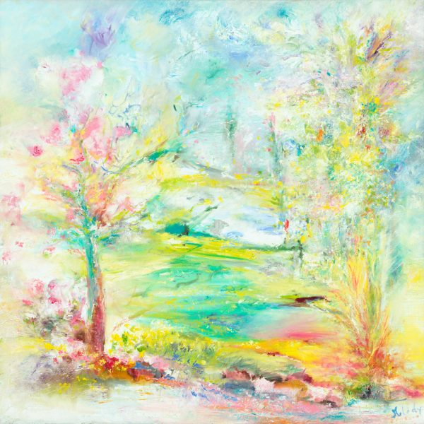 Yesterday Today And Forever, landscape painting of a garden a memory a place in time