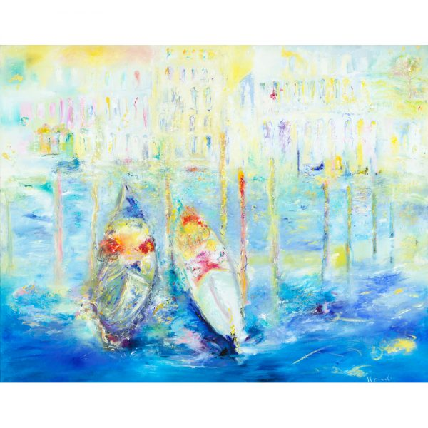 We Met In Venice - Gondolas near Rialto Bridge - oil painting on canvas