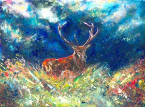 A Father's Love wildlife painting of Red Stag