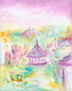 Florence Goes To Dunster original oil painting on canvas