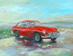 MGB-GT At Porlock Weir classic car painting