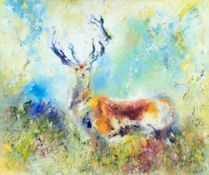 Majesty wildlife painting of Red Stag