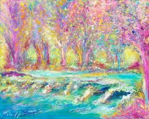 Pink Tarr Steps Exmoor landscape painting