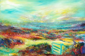 The Blue Gate original landscape painting in oil on canvas